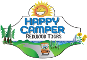 logo for happy camper redwood tours