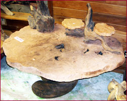photo of burl table